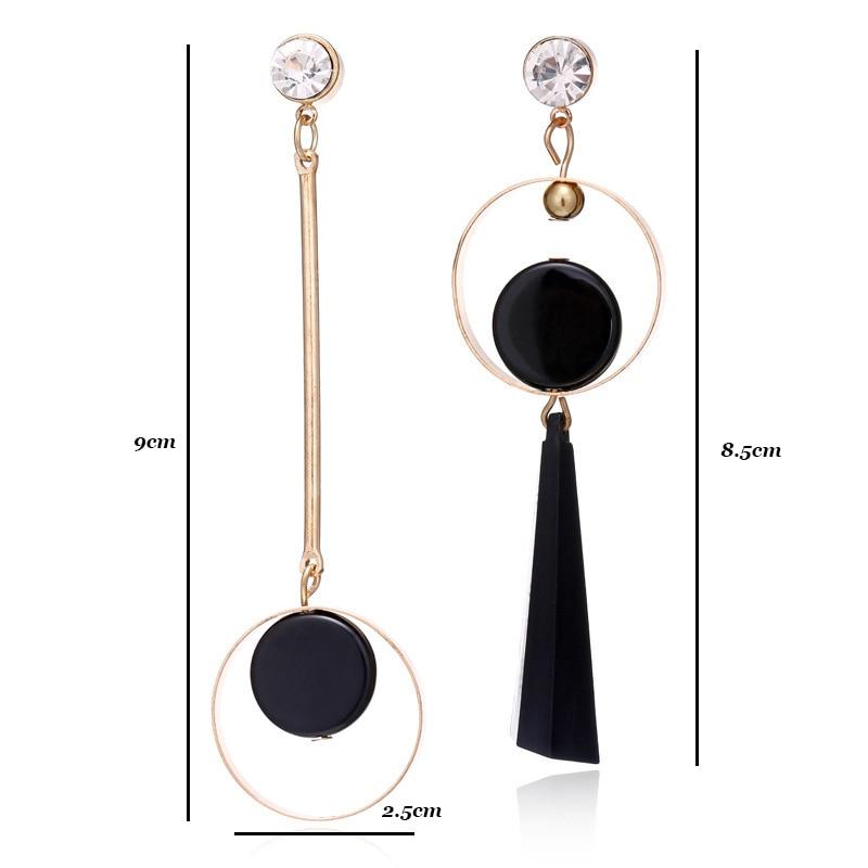 Simple Asymmetrical Earrings For Women Acrylic Earrings Gold Round Crystal Geometric Earrings Korean Style Fashion Pendientes