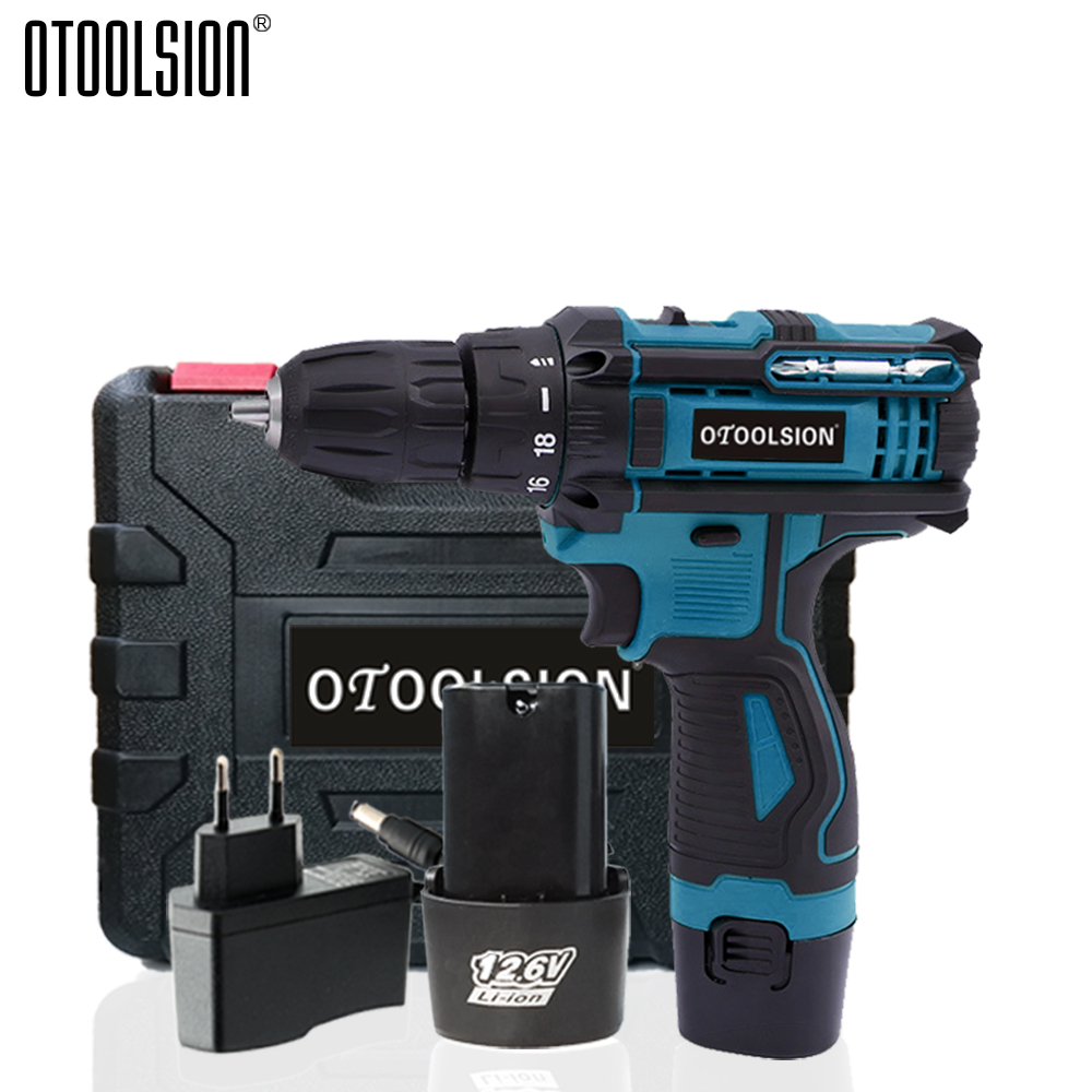 1350rpm Battery Screwdriver 12.6V Two Speed Cordless Drill Power Tools Wireless Electric Drill With Accessories + Drill Driver