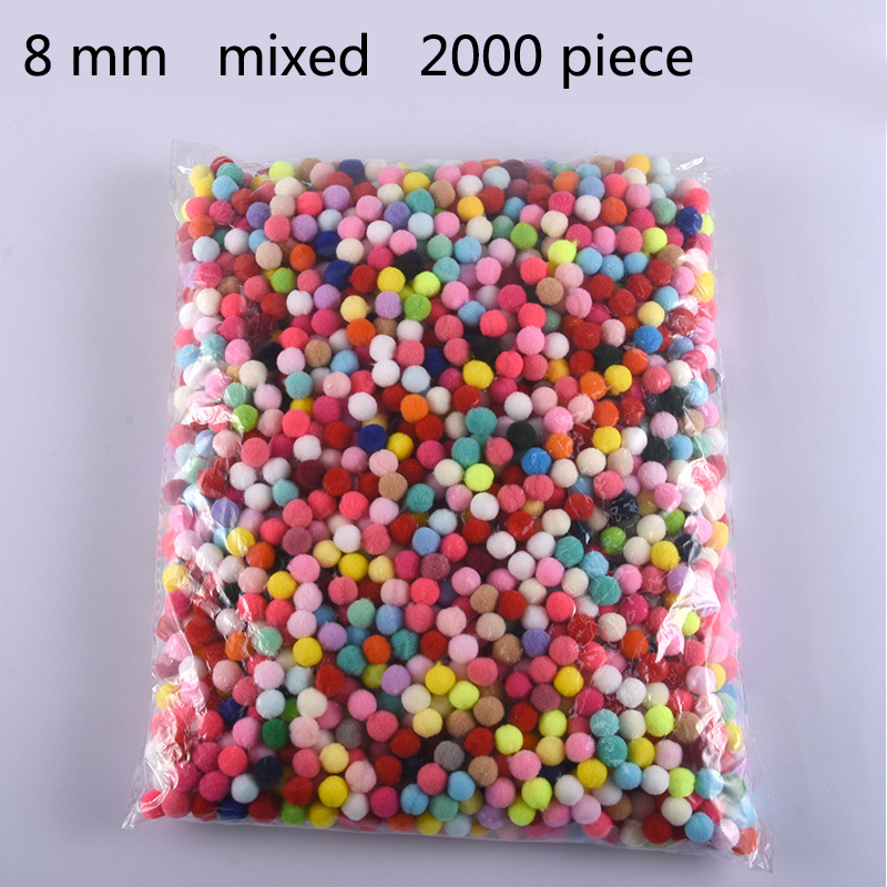 Wholesale 2000Pcs 8mm Pompoms Soft Pom Poms Fur Ball Arts Toys Crafts DIY Apparel Sewing Fabric Supplies Wedding Home Decoration(China)