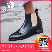 RIZABINA Size 32-48 Woman Boots Fur Winter Warm Ankle Chelsea Boots Woman Shoes Mixed Color Beads Short Boots Ladies Footwear(China)