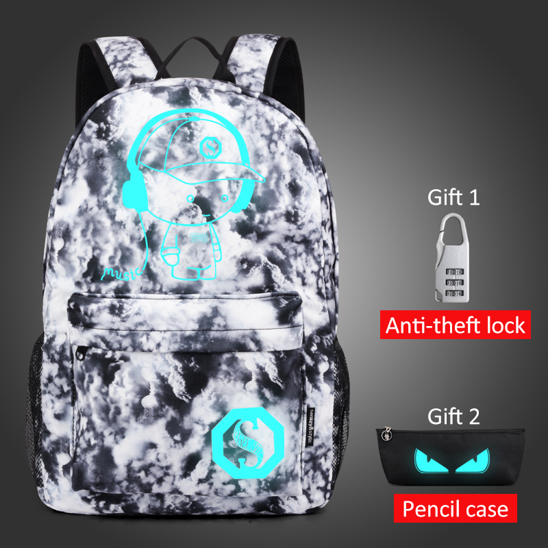 Luminous Student School Bag Anime Laptop Backpack for Boy Girl Daypack with USB Charging Port Anti-theft Lock Camping Travel bag 3