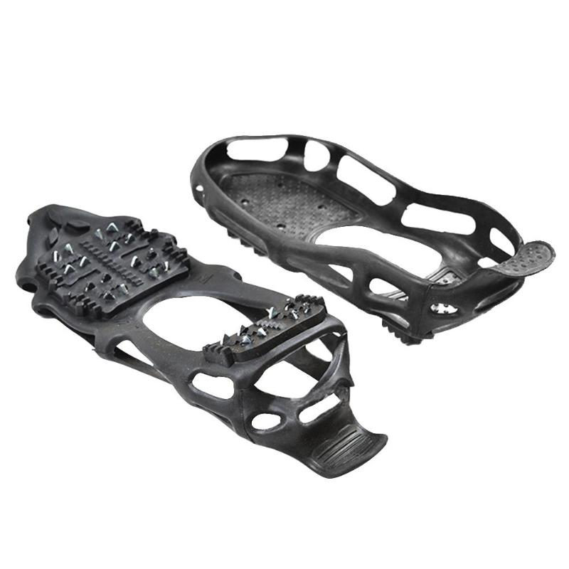 24Teeth Fishing Ice Snow Shoe Spiked Grips Cleats Crampons Winter Climbing Camping Anti Slip Shoes Cover Climbing Accessories