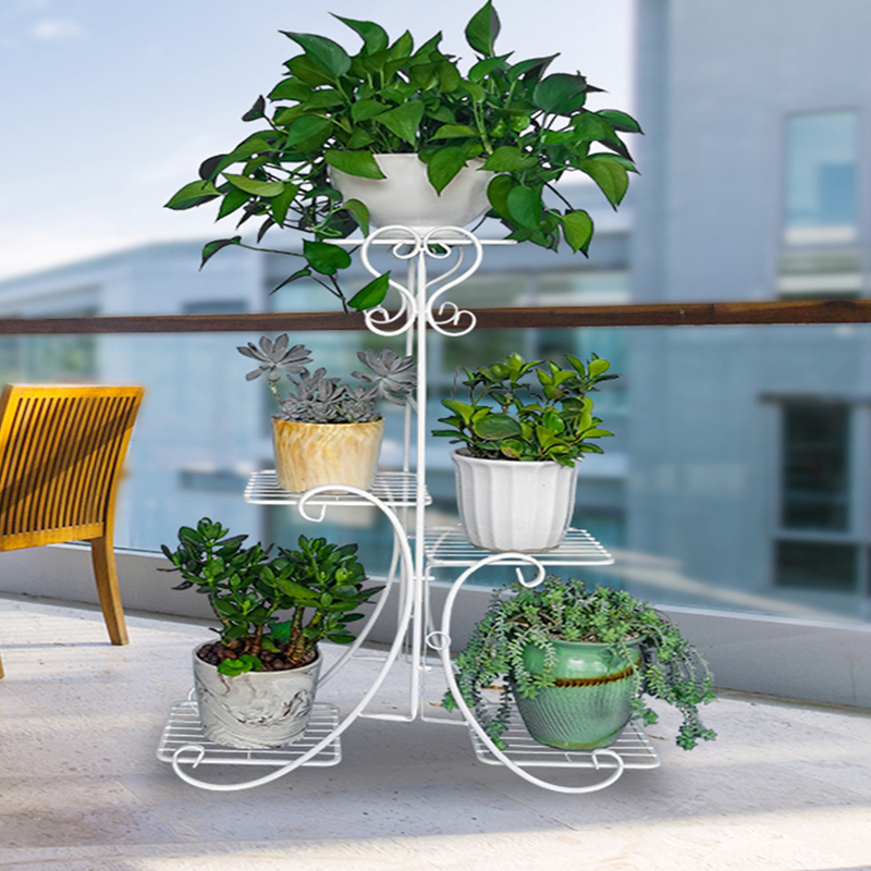 European Flower Frame Wrought Iron Multi-layer Home Floor-standing Indoor Space Living Room Green Bar Flower Pot Shelf
