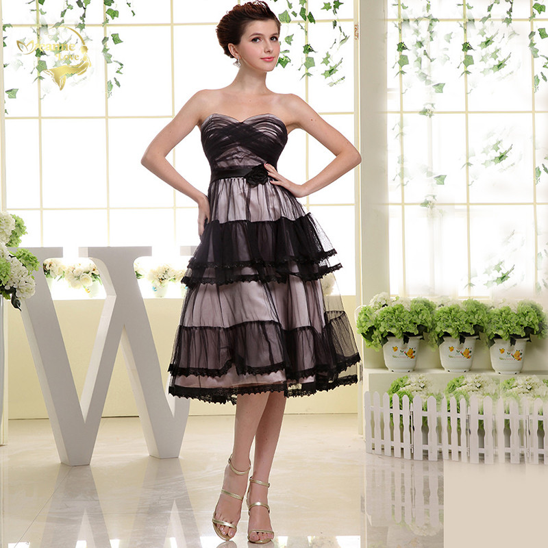 Vestiti Eleganti Cerimonia.Black Tulle Cocktail Dresses Tea Length Prom Dresses Party Gowns