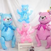 24 дюйма для маленьких девочек голубого и розового цвета в виде шара пузыря в виде шара, игрушечными мишками или шариками для маленьких мальчиков 4D медведь Фольга воздушные шары, хороший подарок на день рождения, рождественские украшения, игрушки для детей