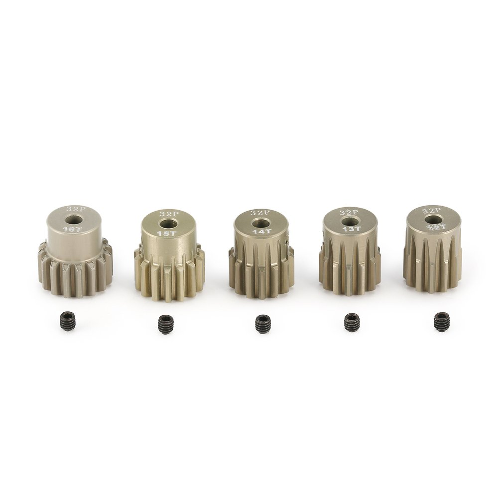 SURPASS HOBBY 5Pcs 32DP 3.175mm 12T 13T 14T 15T 16T Metal Pinion Motor Gear Set for 1/10 RC Car Truck Brushed Brushless Motor