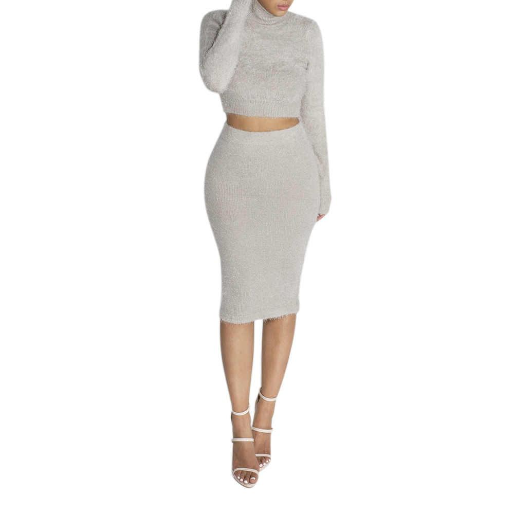 NIBESSER 2019 女性のセーター + ペンシルスカートスーツ長袖フリース作物トップススカート 2 枚セット女性ニットトラックスーツ
