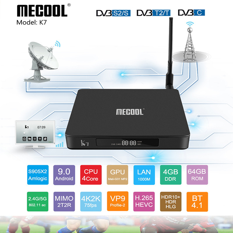 MECOOL K7 Smart tv box <font><b>dvb</b></font> t2 android 9.0 RAM 4GB 64GB ROM DVBT2 <font><b>DVB</b></font> S2 <font><b>DVB</b></font> <font><b>C2</b></font> Amlogic S905X2 Dual WiFi USB3.0 BT4.1 Set-top Box image
