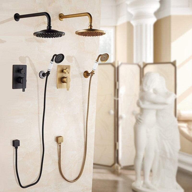 Bad Dusche wasserhahn set wand montiert thermostat Badewanne wasserhahn set pinsel gold/gold messing quadrat regen herbst stil in -wand