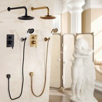 Bathtub Faucets Antique Bronze Bath Rain Shower Wall Concealed Bathroom Faucets Shower Set Faucet Mixer Black Mixer Set Crane