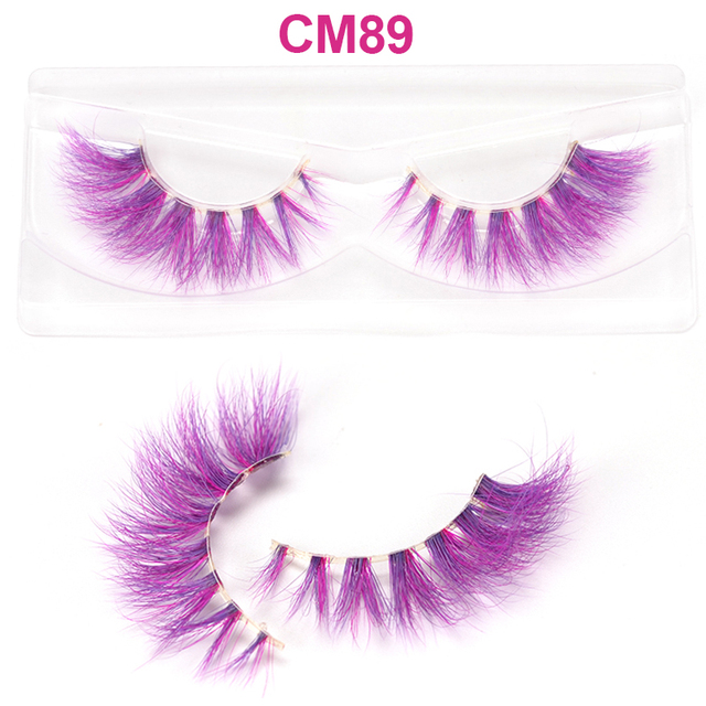 OKAYLASH 3D 6D False Colored Eyelashes Natural Real Mink fluffy Style  Eye lash Extension Makeup Cosplay Colorful Eyelash 2