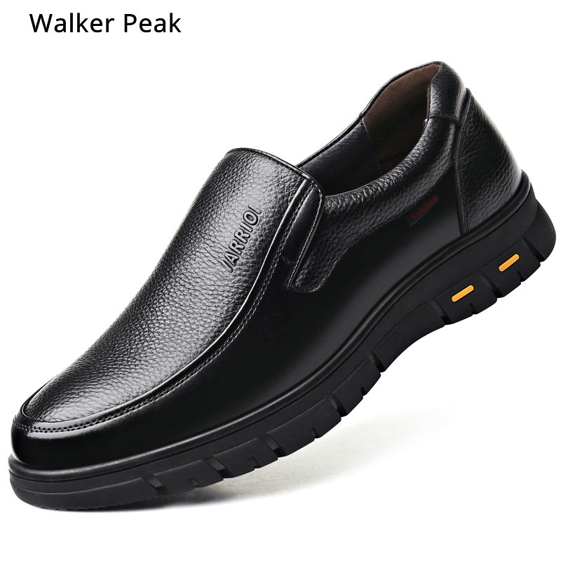 Men Casual Shoes Genuine Leather Elastic Band Shoes Comfortable Brand Shoes Anti-slip Mens Loafes Flats Black Brown Sneakers