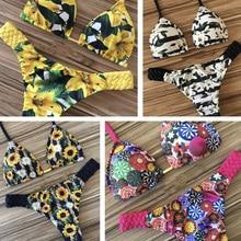 Цветочный принт Лето бикини пляжная одежда купальный костюм пуш-ап купальник женский бикини с перекрестной шнуровкой Biquini