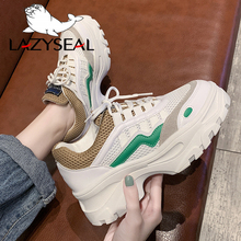 LazySeal Air Mesh Platform Shoes Woman Sneakers Lace-up Round Toe Thick Bottom Ankle Boots For Women Chunky Heels Casual Shoes цены онлайн