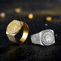Mode Persönlichkeit Gold Überzogene Krone Ring Iced Out Strass Ring Rock Hip Hop Schmuck Männer und Frauen Party Ring Zubehör