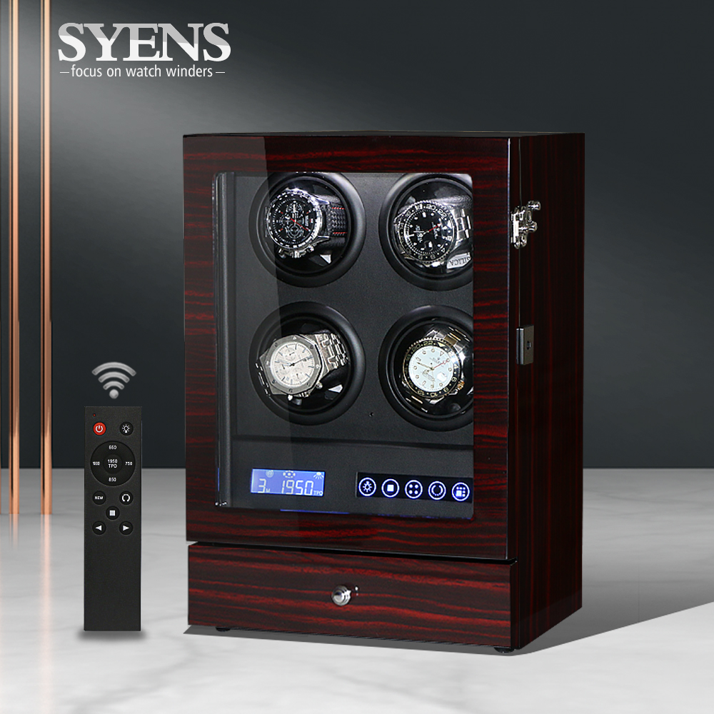 Luxury Watch winder 4 Automatic watch box with LCD touch/TPD mode Mechanical winder display Ebony finish for men's gift