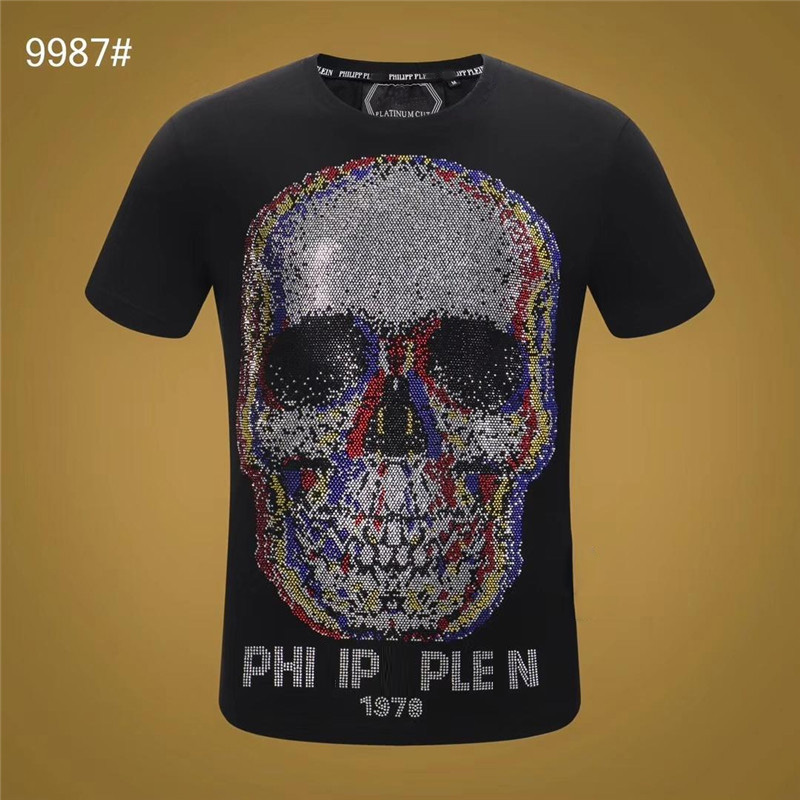 Qplein Crystal T-Shirt M-3XL Short Sleeve Black White Cotton Mens Tee Shirts Fashion Gothic Style
