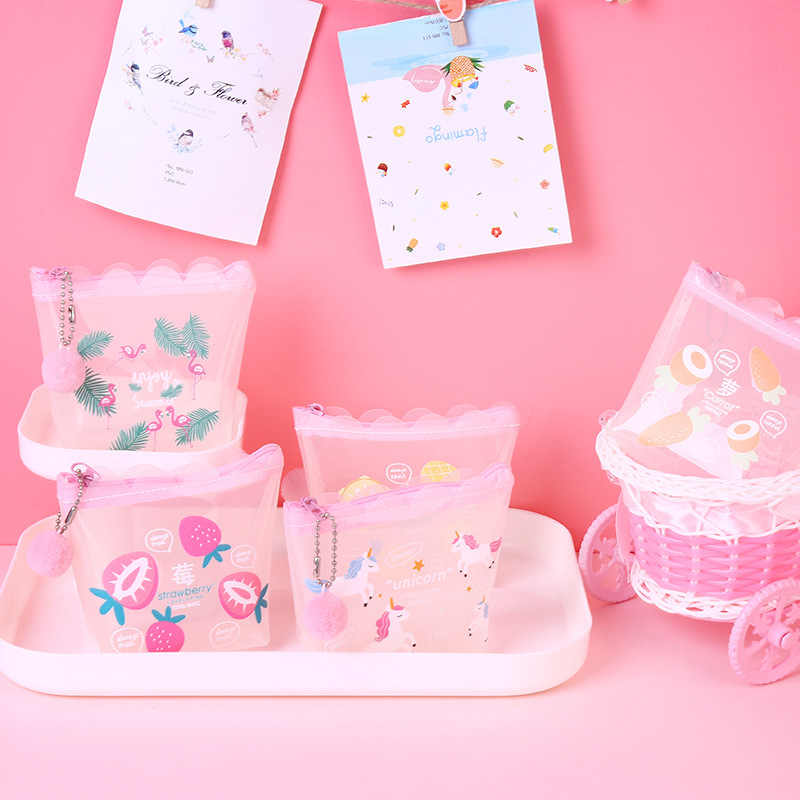 Transparante Meisjes Portemonnee Roze Lolita Mini Portemonnee Kat Eenhoorn Geld Tas Vrouwen Pluche Bal Hanger Kleine Portemonnee Pocket