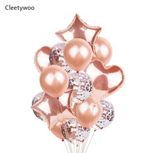 Rose Gold Confetti Baloons Foil Baloons Kids Adult Birthday Party Ballons Decoration Garland Wedding Globos Baby Shower Supplies(China)