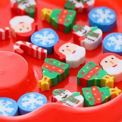 20PCS Christmas Gifts Santa Claus Snowman Eraser Transparent Packaging Ballpoint Pen Writing Eraser Children's Christmas Gift 4