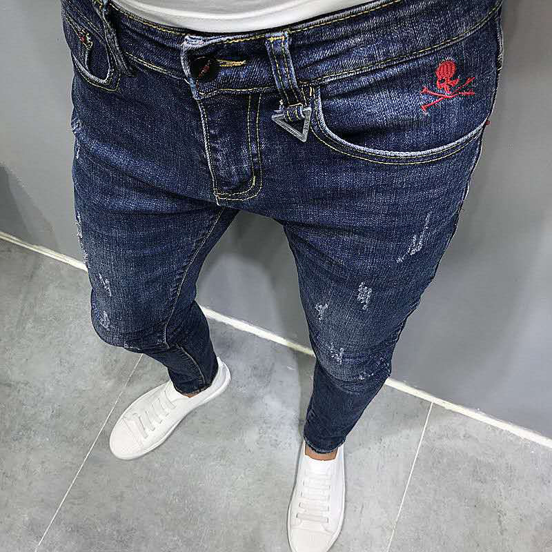 Jeans Men Fashionable 2020 Spring Summer New Product Korean Slim Fit Pants Male Youth Overalls Personality Pocket Men's Jeans