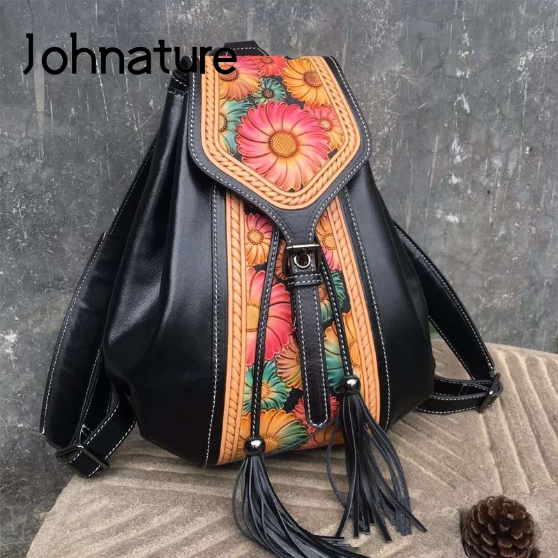 Johnature Genuine Leather Women Backpack 2020 New Retro National Style Handmade Carving First Layer Cowhide Bag Travel Backpacks