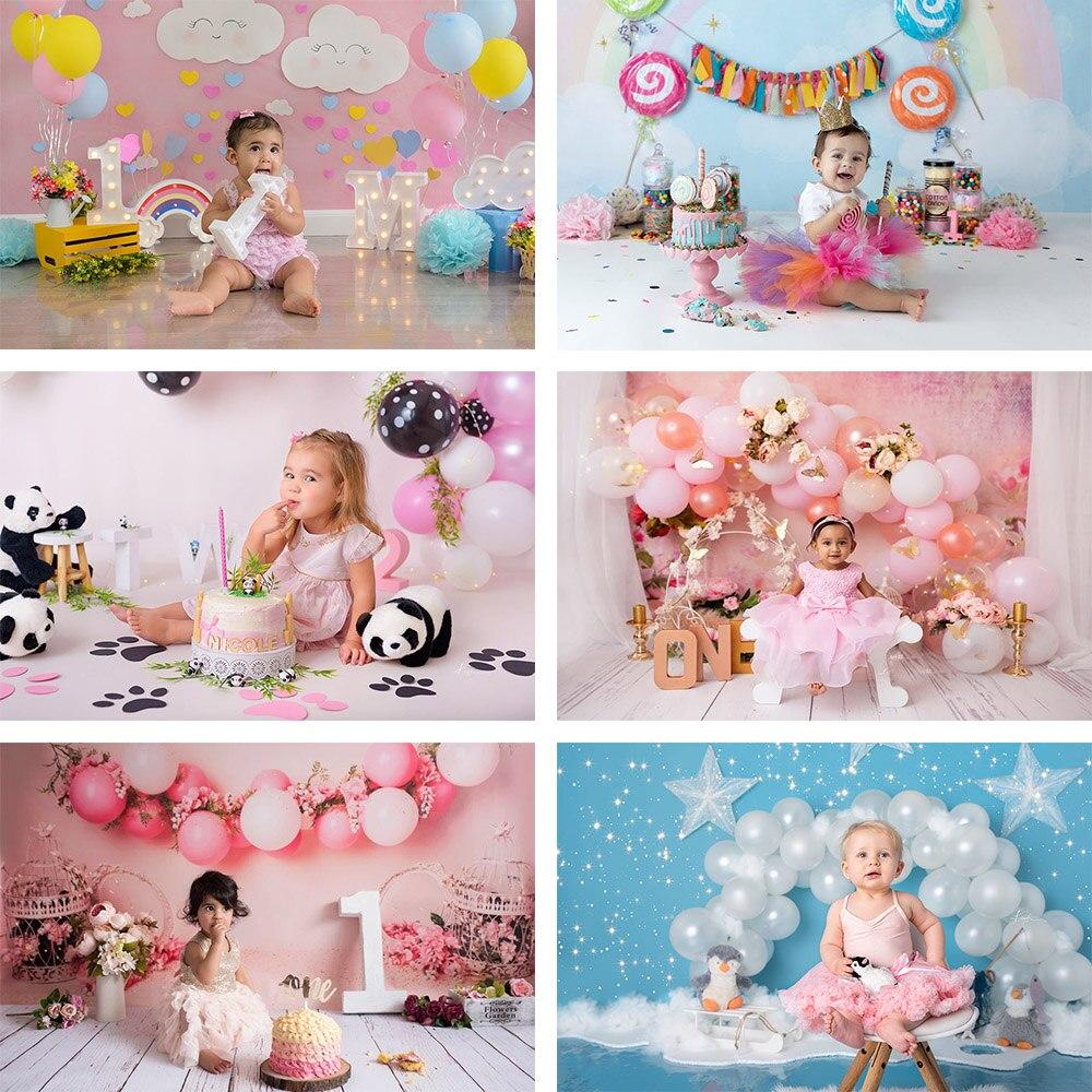 Фотофон Mehofon для девочек на 1-й День рождения красочный воздушный шар конфеты торт разбивать новорожденный портрет фотостудия фон