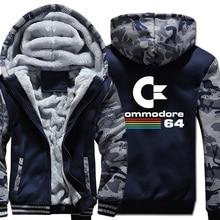 Commodore 64 Hoodies erkekler için C64 ceketler sonbahar kış kalın sıcak kamuflaj kapüşonlu Hoody 2019 yeni Streetwear erkek Hoodie ceket