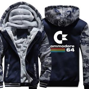 Image 1 - Commodore 64 sweats à capuche pour hommes C64 vestes automne hiver épais chaud Camouflage à capuche à capuche 2019 nouveau Streetwear hommes veste à capuche