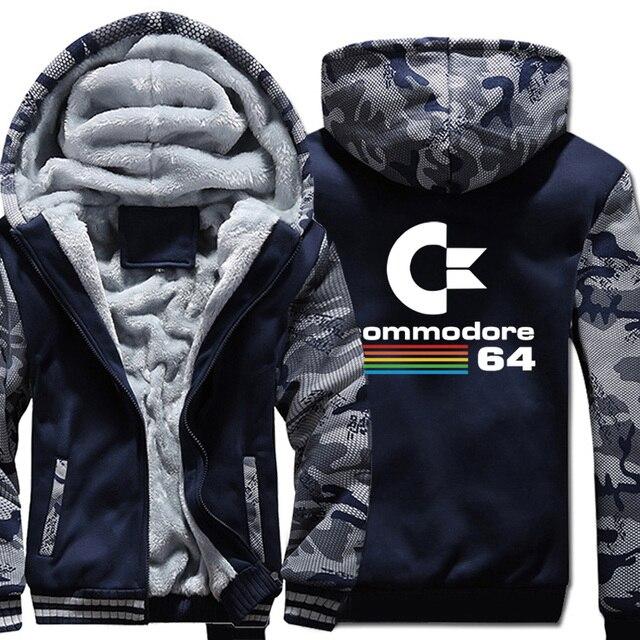 Commodore sudaderas con capucha C64 para hombre, chaqueta gruesa y cálida de camuflaje con capucha, ropa nueva, chaqueta con capucha, otoño e invierno, 2019