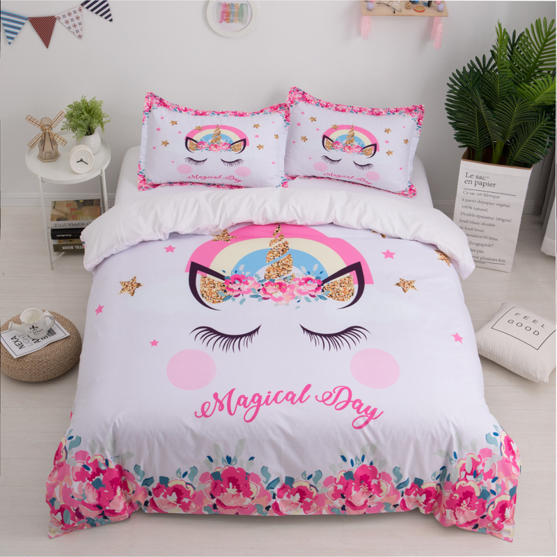Image 3 - 3D Cute Unicorn Bedding set Duvet cover and pillowcases EU / AU /US size for girls-in Bedding Sets from Home & Garden