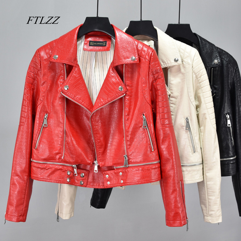 FTLZZ Faux Soft Leather Pu Jacket Coat Women Hem Detachable Serpentine Leather Jacket Female Rivet Zipper Motorcycle Outerwear