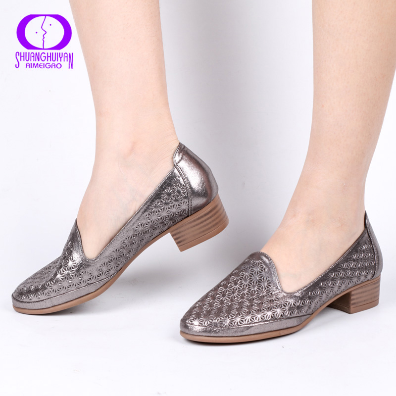 AIMEIGAO Autumn Spring Casual Shallow Pumps Women Comfortable Leather Slip-on Shoes Wedges Square Pumps Women High Heels Shoes