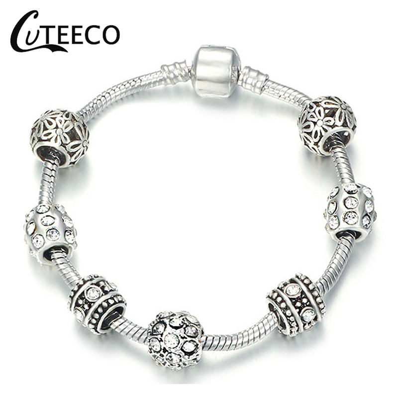 CUTEECO Beads Brand Bracelet For Women Original Jewelry Gift Dropshipping Silver Color Charm Bracelets Cubic Zirconia