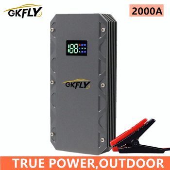 gkfly 2000a car jump starter 24000mah portable car starting device power bank petrol diesel car charger for car battery booster GKFLY New 2000A Car Jump Starter Starting Device Portable Power Bank Car Battery Booster Jumpstart for Petrol Diesel Car