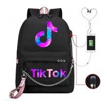 Рюкзак Tik Tok с Usb-зарядкой, школьный ранец для подростков, вместительная Водонепроницаемая Студенческая Повседневная дорожная сумка для ноу...