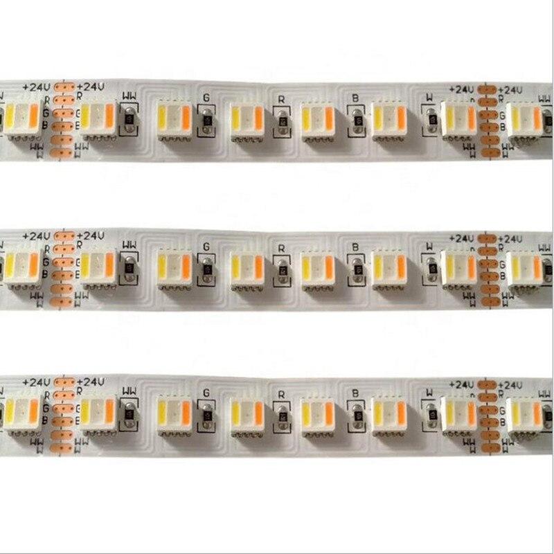 5m 96leds/m rgb + cct 5 in1 led luz de tira 5050 smd 36w rgb + branco quente rgbww led fita flexível 12mm branco pcb dc24v
