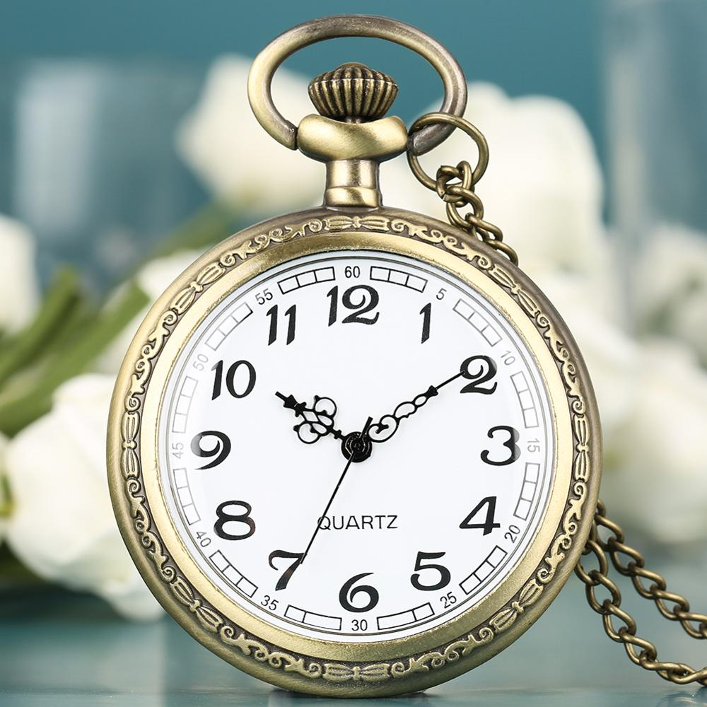 Fashion Pocket Watch Arabic Numerals Dial Silver Chain Pendant Watch Quartz 2019 Necklace Clock Gift For Friends Reloj Bolsillo