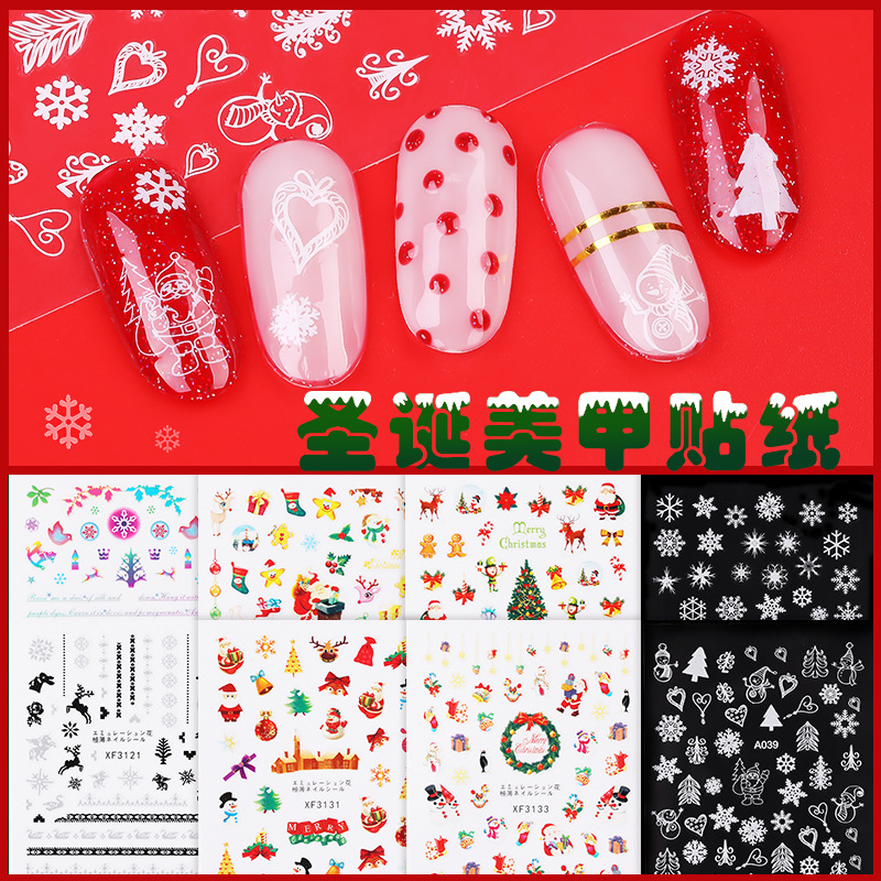 Christmas Nail Sticker 3D Santa Claus Cartoon Patch Snowflake Adhesive Paper Manicure Stickers Waterproof Nail Decals