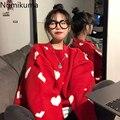 Модель 2020 года, осенне-зимний женский свитер Nomikuma, корейский вязаный пуловер с сердечками, топы, повседневный женский свитер с длинным рукав...