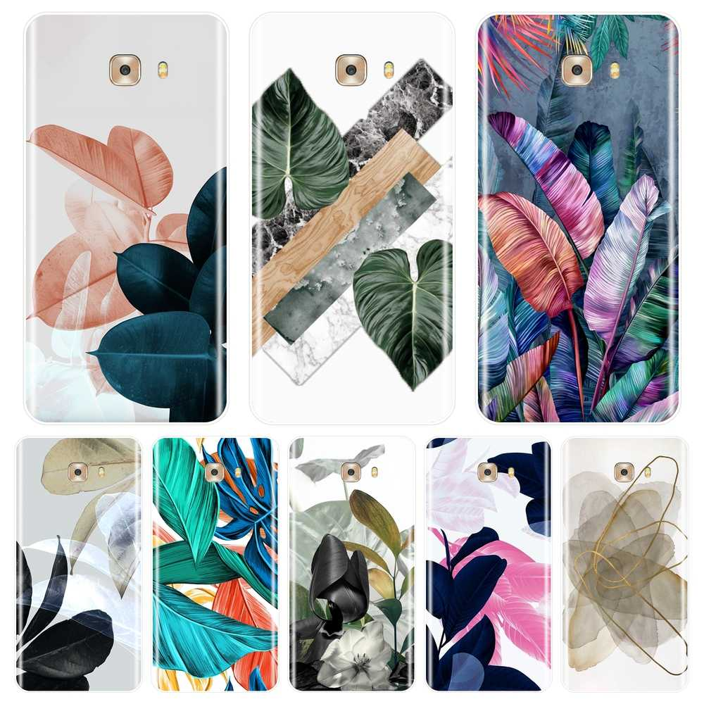 For Samsung Galaxy C9 C7 C5 Pro Case Silicone Aesthetic Flower Floral Leaf Art Soft Cover For Samsung Galaxy C5 C7 C8 Phone Case