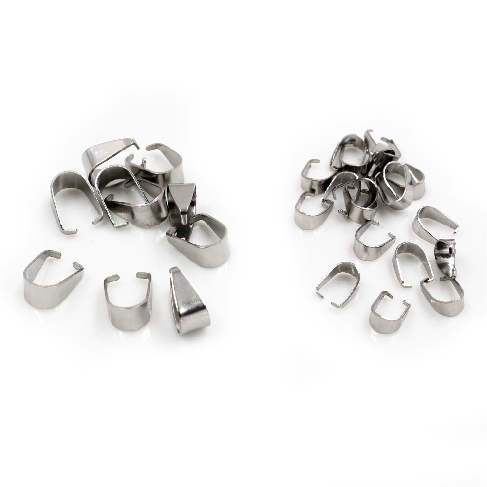 100pcs Stainless Steel Pendant Pinch Bail Clasps Necklace Hooks Clips Connector For Jewelry Making Findings Accessories DIY(China)