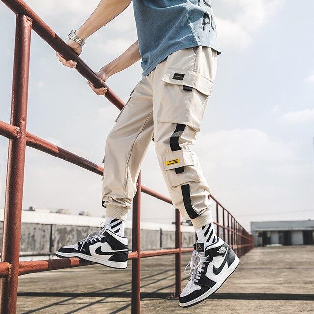 2020 nuevo Joggers de Hip Hop pantalones hombres pantalones Harem Multi-Bolsillo cintas Hombre Pantalones Streetwear pantalones de hombre informales S-5XL 5