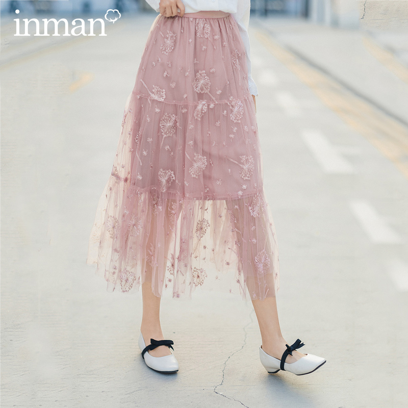 INMAN 2020 Spring New Arrival Literary High Waist Double Mesh Pleated Loose Middle-skirt