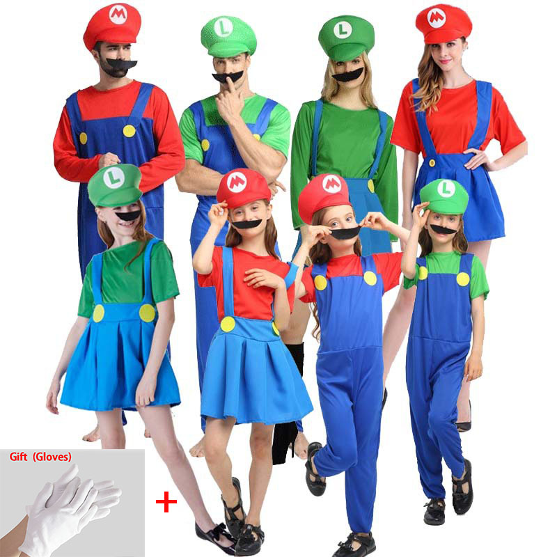 Super Clothes Adults and Kids Family Bros Cosplay Costume Set Children Gift Halloween Party  LUIGI Clothes