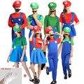 Супер Одежда для взрослых и детей Семейные Bros Косплей костюм комплект Детский подарок на Хэллоуин вечерние Супер Марио и Луиджи; Одежда