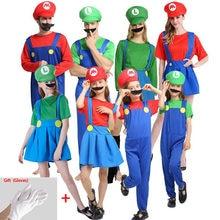 Super roupas adultos e crianças família bros cosplay conjunto de fantasia crianças presente festa de halloween luigi roupas