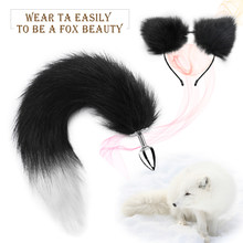 Stainless Steel Anal Butt Plug with Faux Silver Fox Tail and Ear-Anal Stopper Tail Sex Toy for SM Adult Games or Cosplay(China)