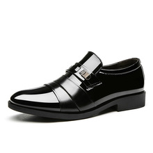 Whoholl Brand Black Formal Shoes Men Loafers Wedding Dress Patent Leather Oxford For Chaussures Hommes 38-48