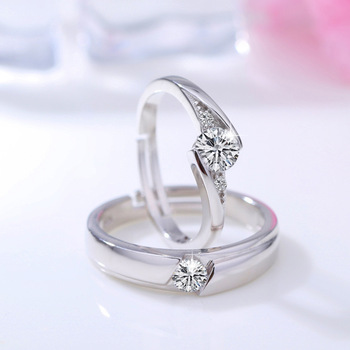 Sterling Silver Couple Round Creative Ring Set 3